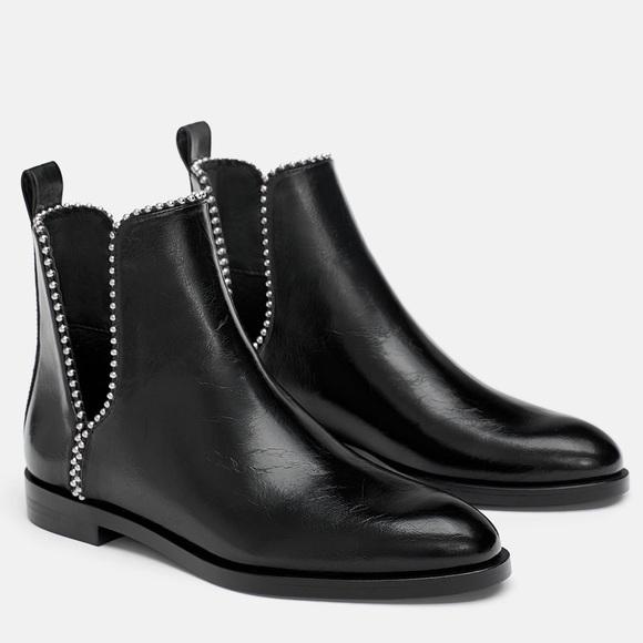 Zara Flat Cutout Studded Ankle Boots
